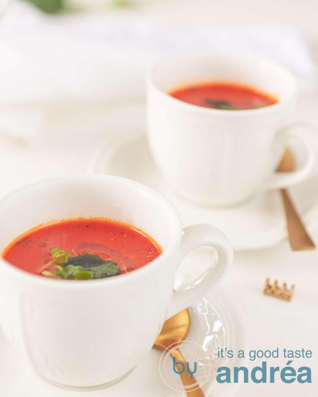 two bowls Rich tomato soup