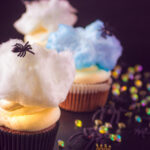 pin Spider cupcakes with mascarpone frosting and cotton candy