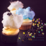 highlight Spider cupcakes with mascarpone frosting and cotton candy