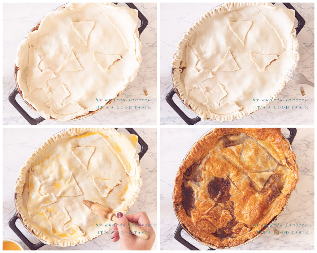 Decorate with puff pastry and bake in the oven