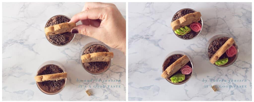 Decoreer het toetje met koek en suikerwerk