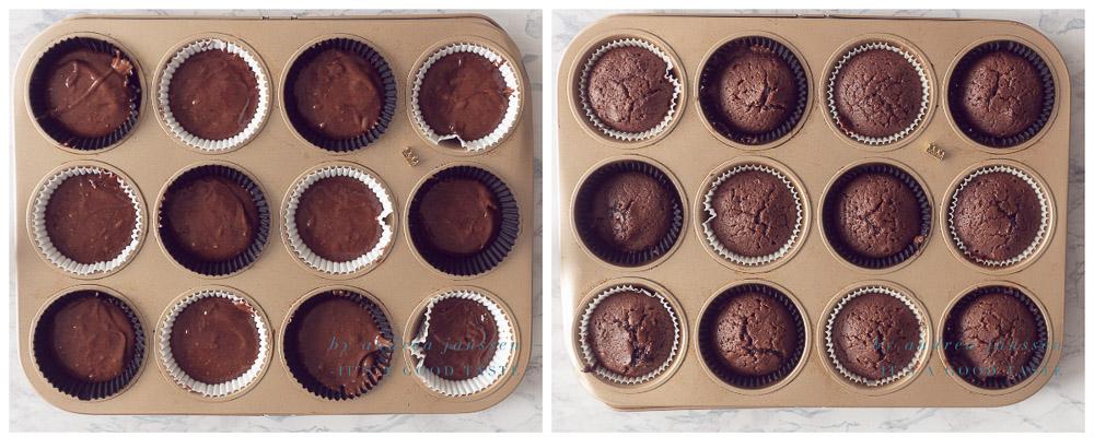 ongebakken en gebakken chocolade cupcakes