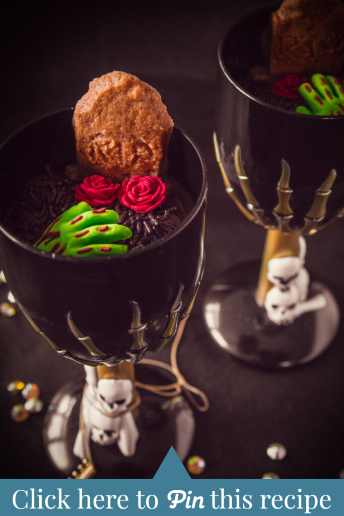 c t a Graveyard dessert with gingerbread cookies