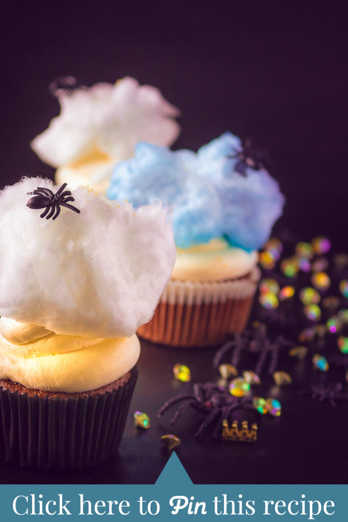 c t a Spider cupcakes with mascarpone frosting and cotton candy