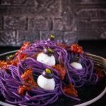 pin purple spaghetti with mozzarella balls