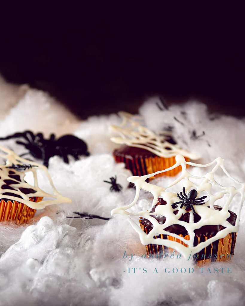 Halloween recipe Nutella chocolate cupcakes with spiderwebs