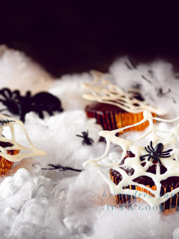 highlight Halloween recipe Nutella chocolate cupcakes with spiderwebs