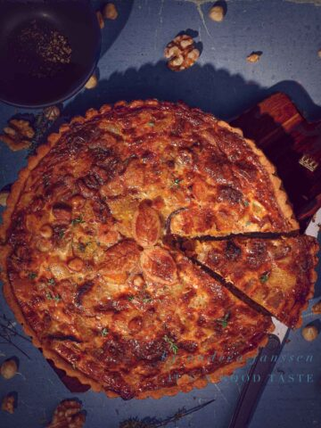 Fall quiche with pumpkin and sweet potato