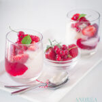 Frozen yoghurt met rode bessen - frozen yoghurt with red currants