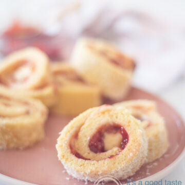 Strawberry cake rolls on a white plate