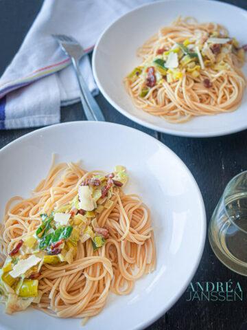 Spaghetti met prei en mascarpone - spaghetti with leeks and mascarpone-bewerkt