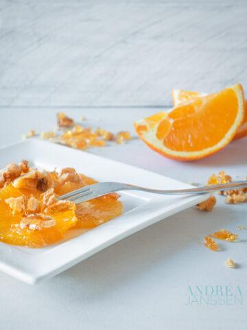 sinaasappel met honing en walnoot