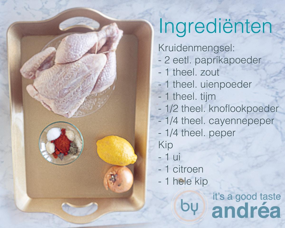 ingredienten voor een hele kip uit de slowcooker