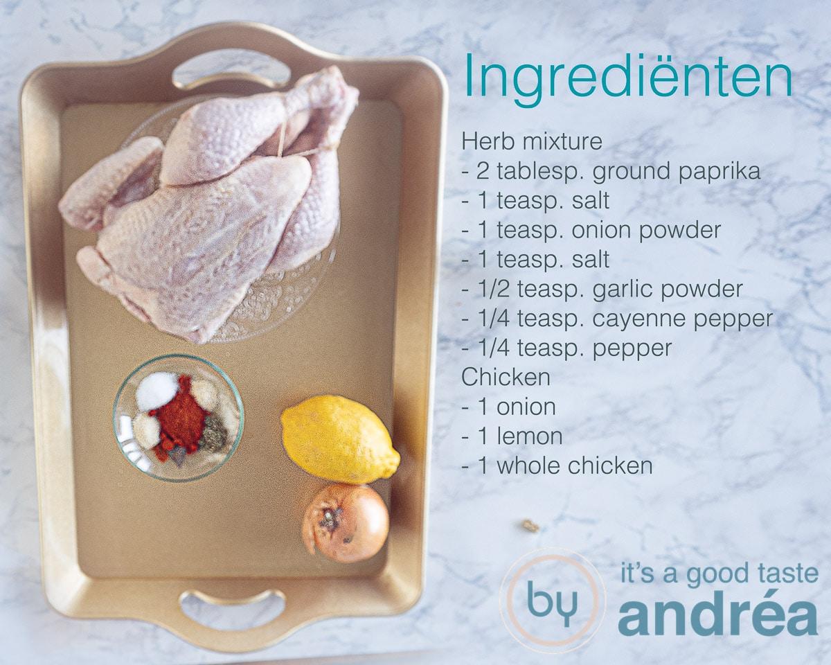 ingredients to prepare a slow cooker rotisserie chicken