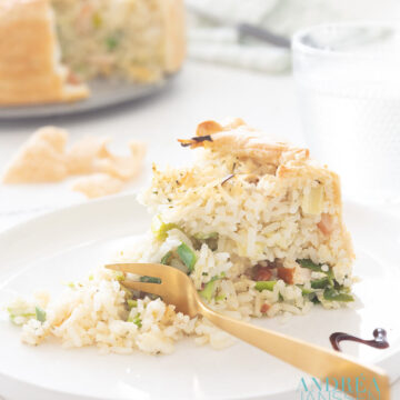 Leek rice quiche with smoked chicken
