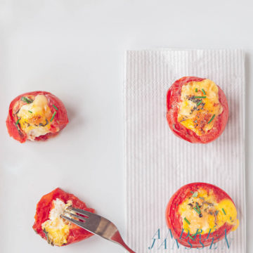 Tomatoes stuffed with eggs, herbs and Parmesan cheese