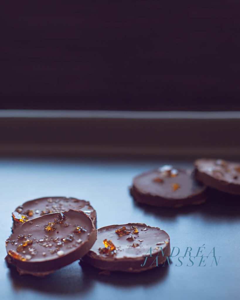 Chocolates with caramel and sea salt