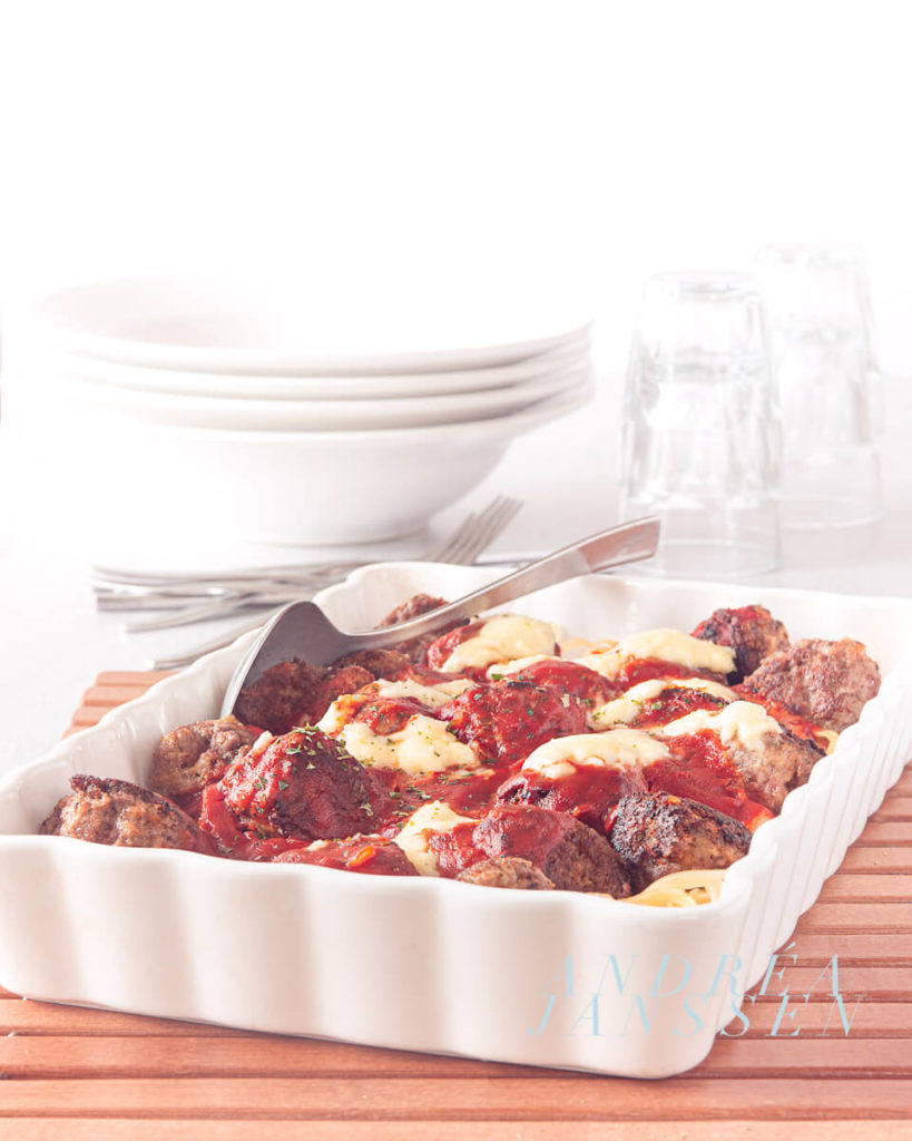 Meatball casserole with tagliatelle