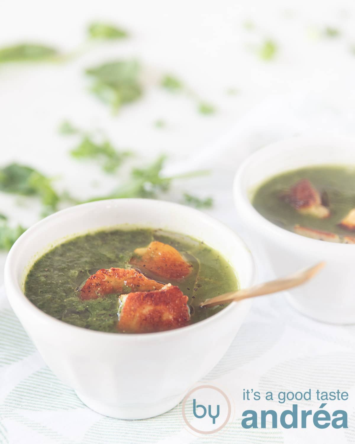 bok choy and kale spinach soup with Halloumi