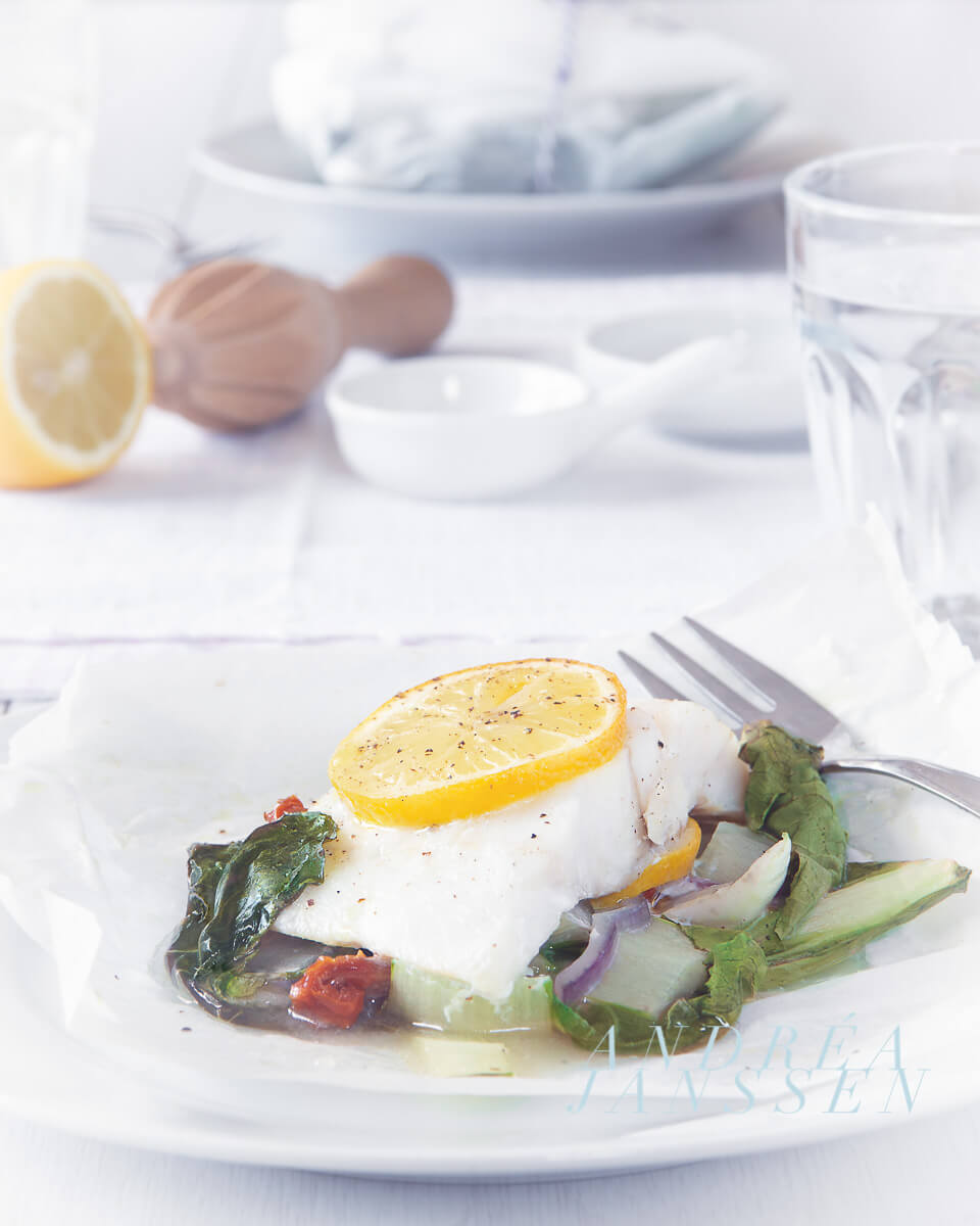 Fish package cod with bok choy