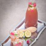 Lime rose ice tea with raspberries