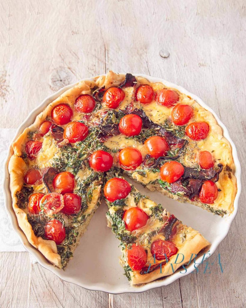 Kale, tomato and bacon quiche
