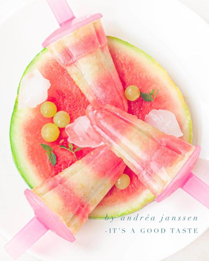 Watermelon grape ice popsicles