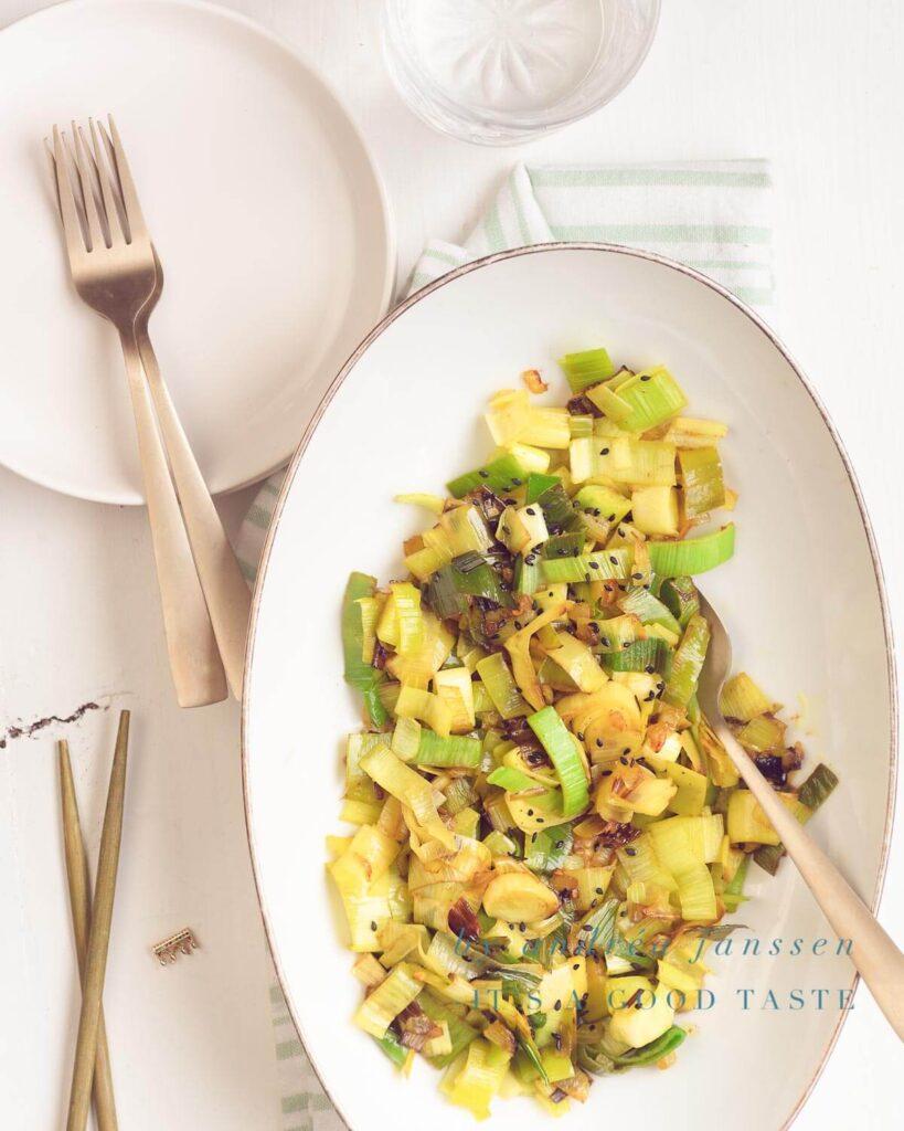 Prei met curry en chili