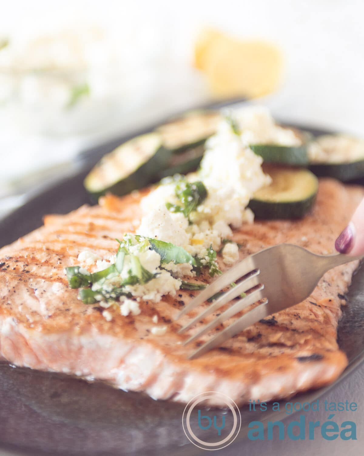 Grilled salmon and zucchini with a feta dressing