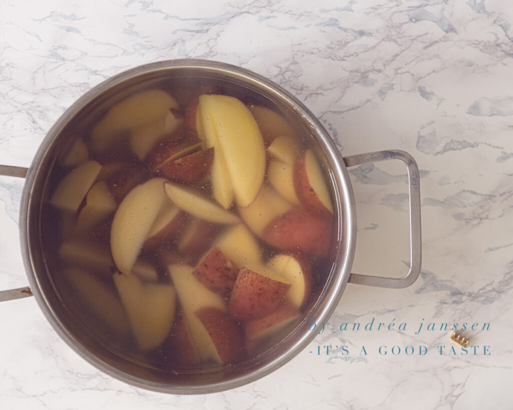 Potatoes boiled in a pan