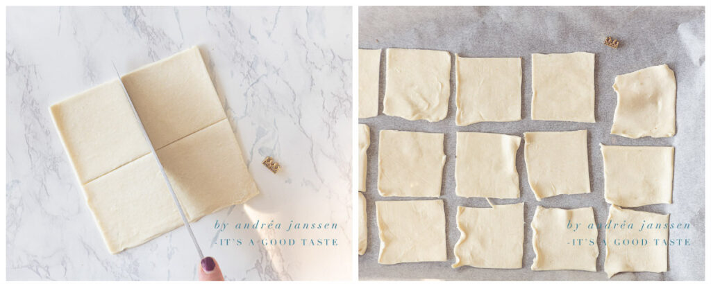 Slice the puff pastry sheets in squares