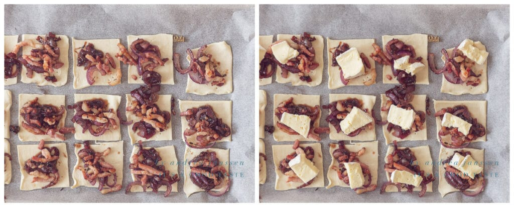 Leg de gekarameliseerde uien, spekjes en Brie op het bladerdeeg