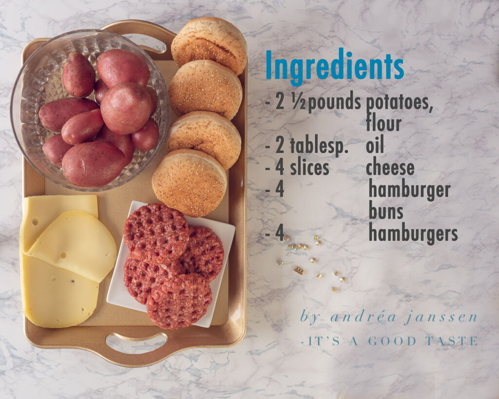 Ingredients cheeseburger with homemade oven-baked fries