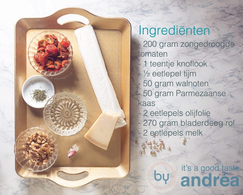Ingrediënten voor bladerdeeg kerstboom hapjes met rode pesto