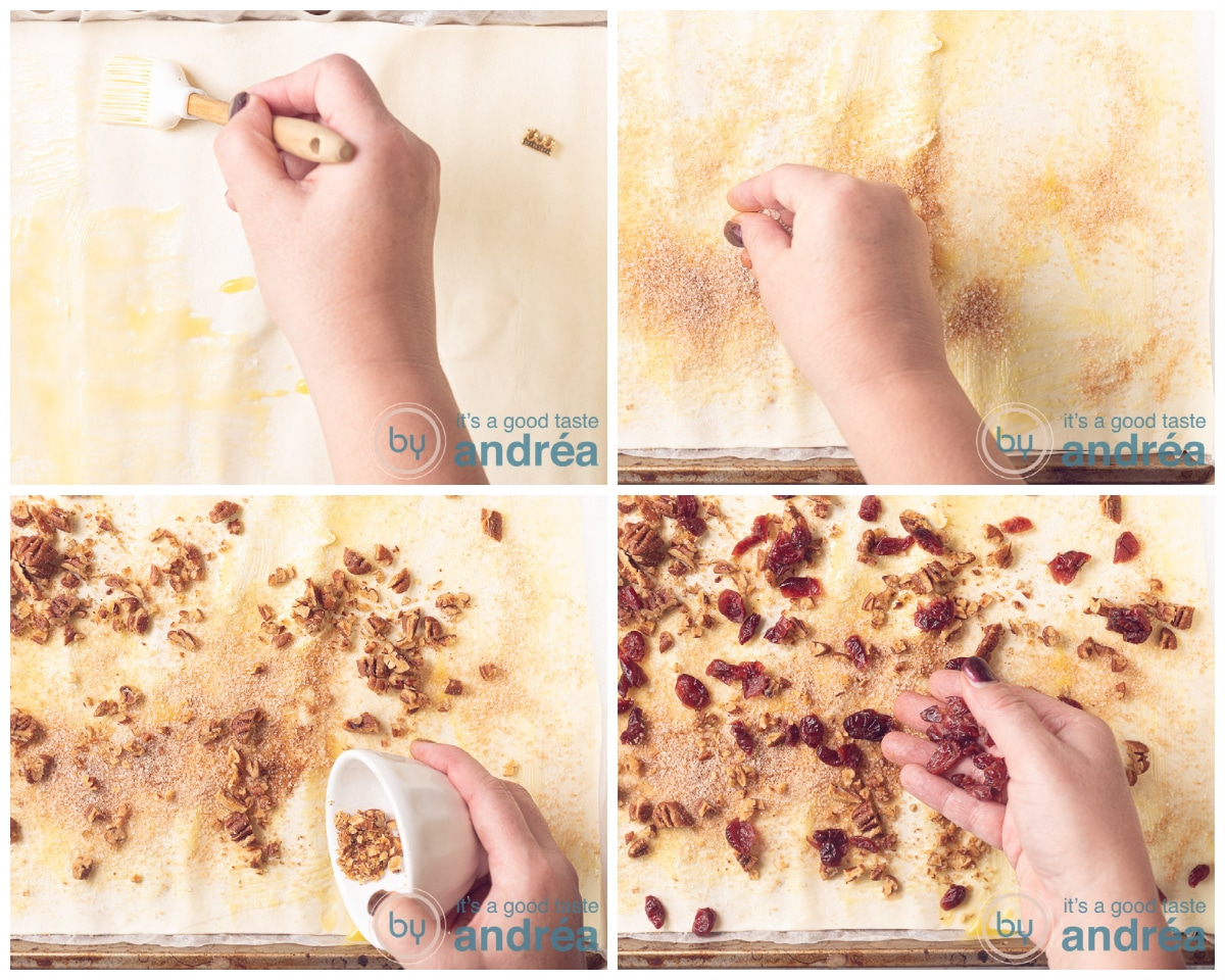 Spread cinnamon sugar, pecans and cranberries on the puff pastry