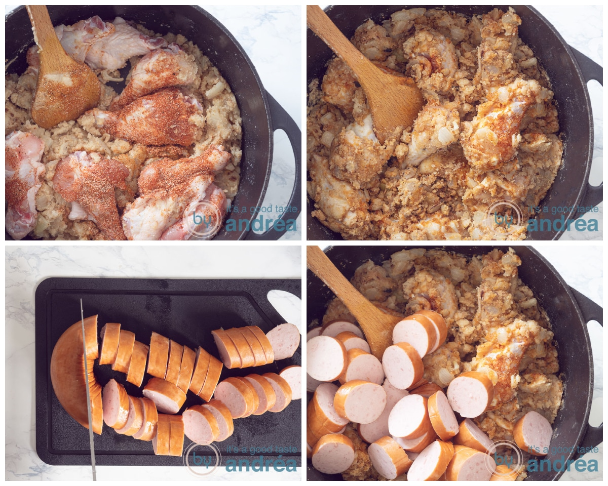 Add chicken and sausage to the pan