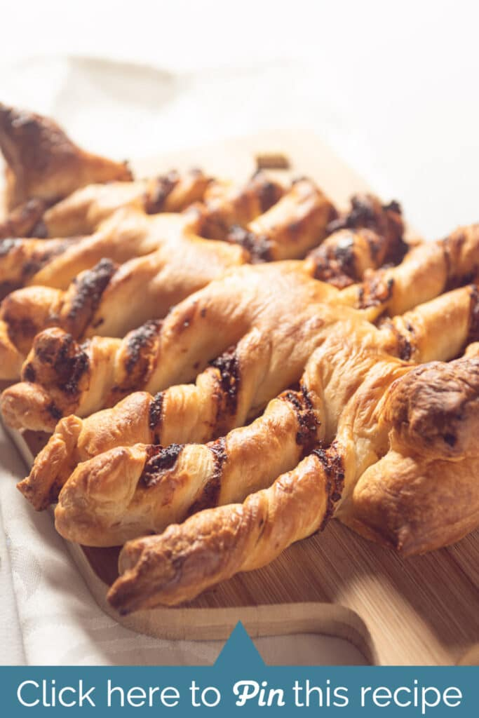 A baked puff pastry Christmas tree