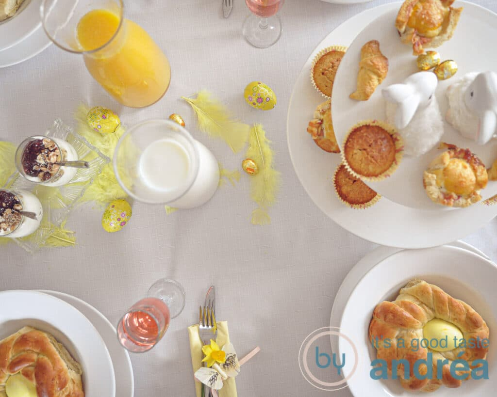 an easter brunch table