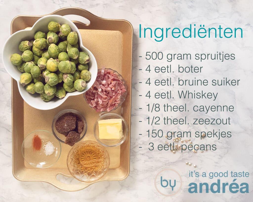 Ingrediënten voor spruitjes met spekjes