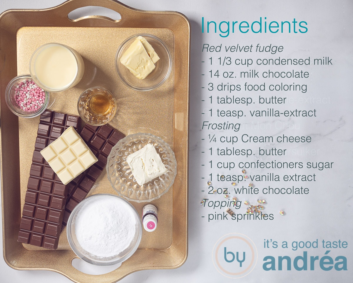 Ingredients red velvet fudge with white chocolate frosting