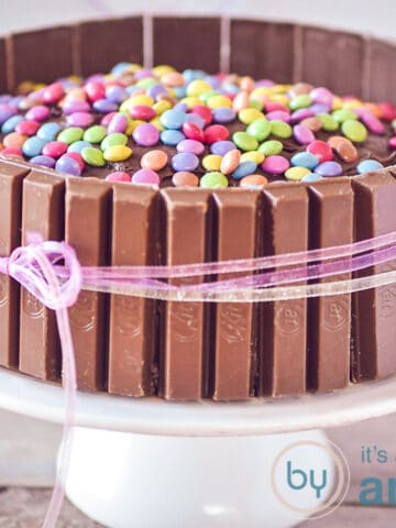 Kit kat Smarties cake on plate