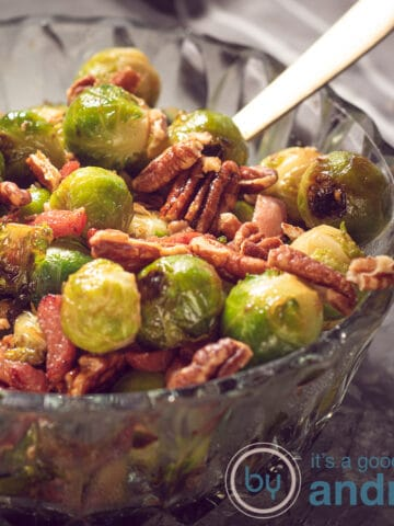 A bowl with Brussels sprouts with bacon