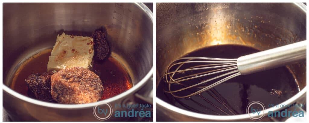 Doe de glaze ingredients in een pan en verwarm