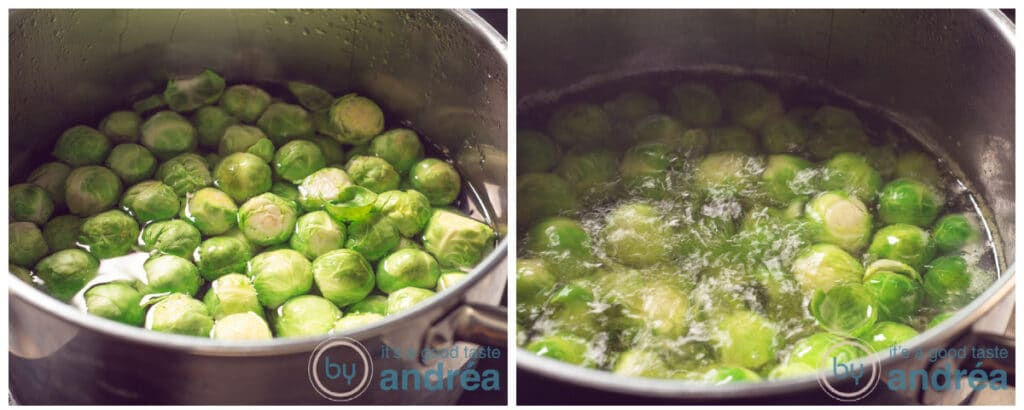 Brussels sprouts cooking in a pan
