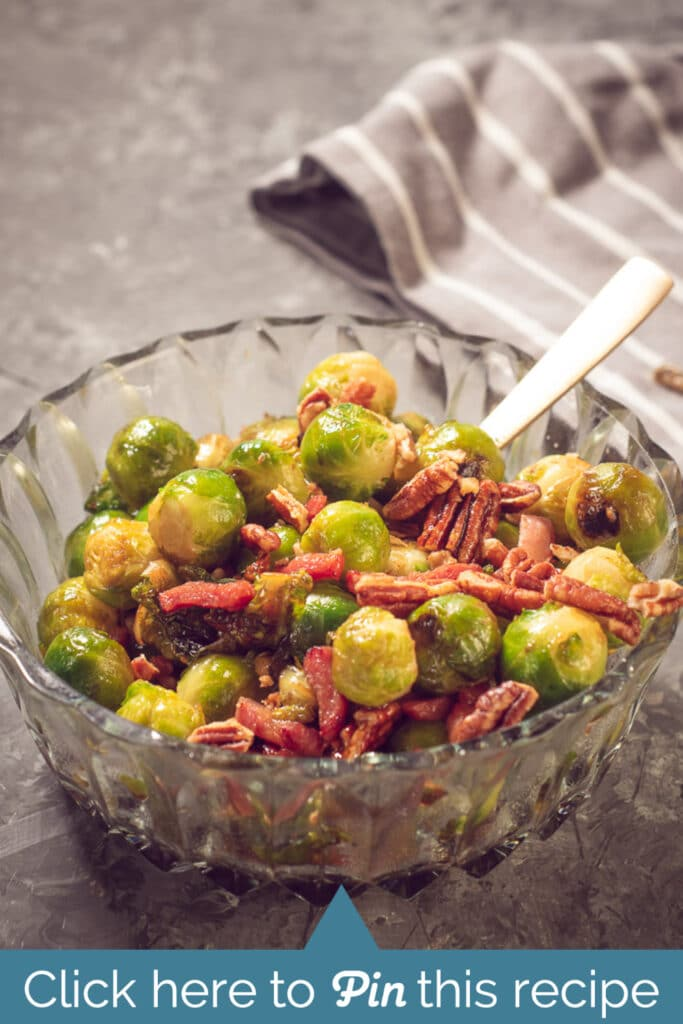 A bowl with Brussels sprouts and bacon