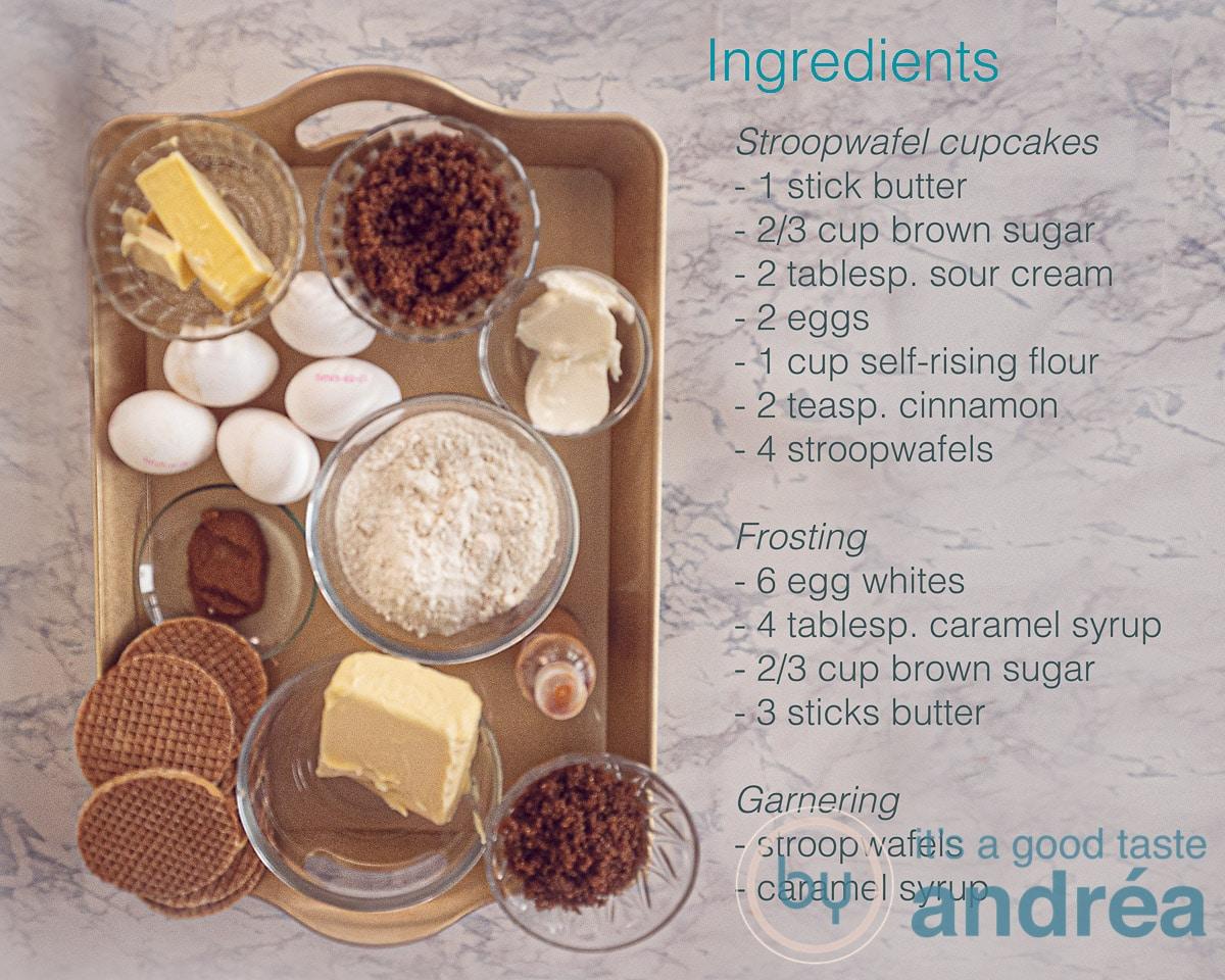 Ingredients Dutch stroopwafel cupcakes