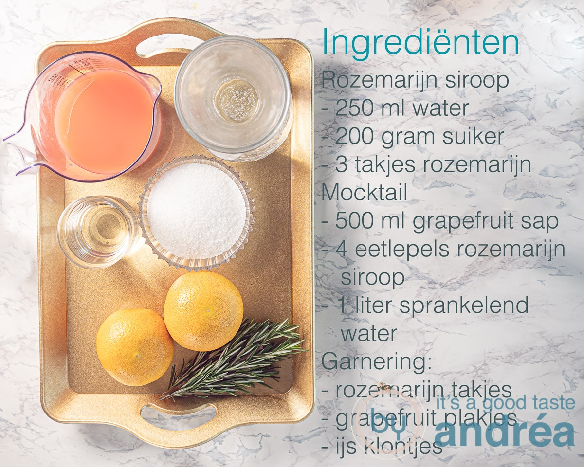 Ingrediënten voor een rozemarijn grapefruit mocktail