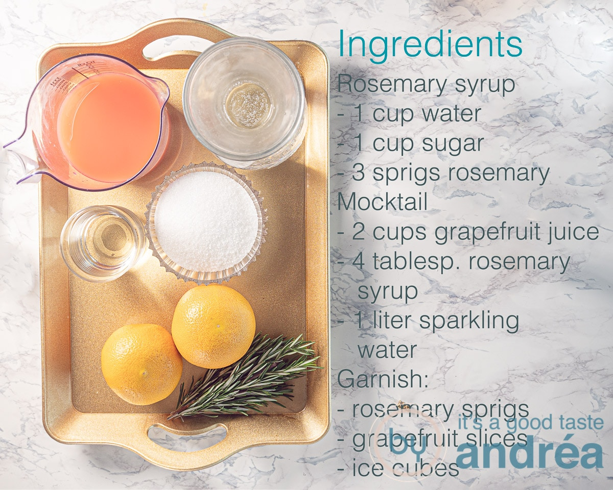 ingredients sparkling grapefruit mocktail with rosemary