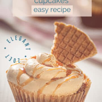 A cupcake filled with stroopwafels and cinnamon on a white board for pinterest