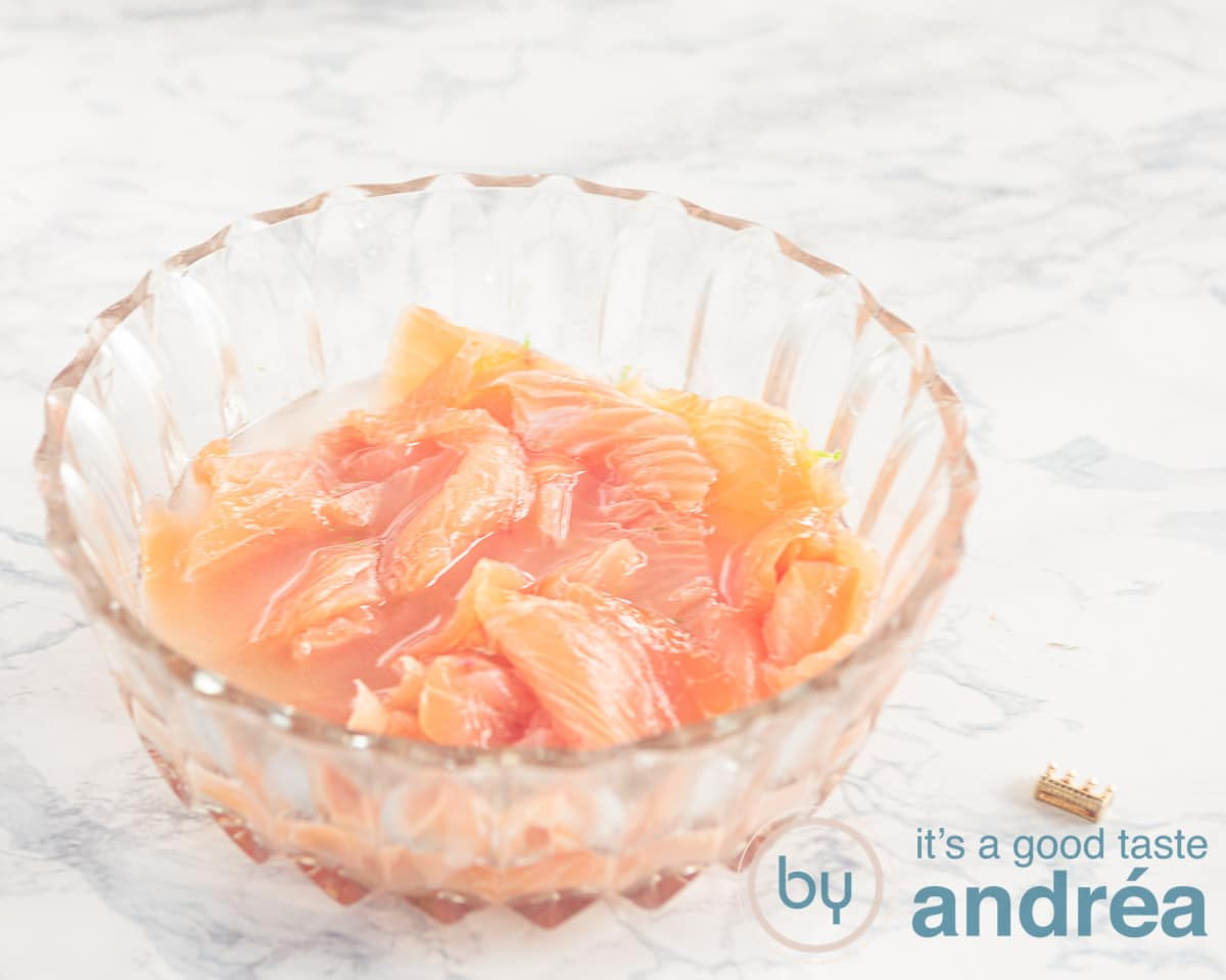 marinate the salmon in wodka and lime